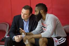 Rockets general manager Daryl Morey, left, is plotting his next offseason after landing James Harden in 2012 and Dwight Howard in 2013.