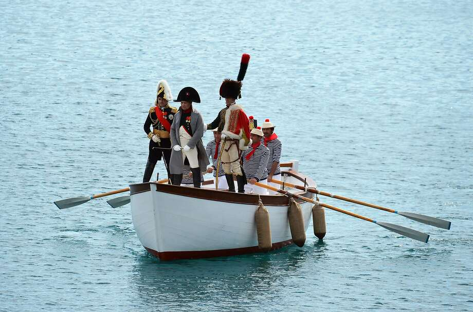 Able was I ere I saw Elba:Napolean (Roberto Colla) arrives at the harbor of Portoferraio on the Italian island of 