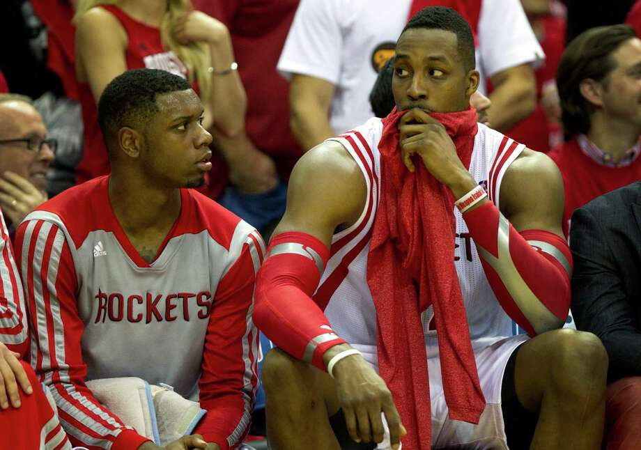 "Of the potential of second-year Rockets forward Terrence Jones, left, center Dwight Howard says, ""I like what I see there."" Photo: Brett Coomer, Staff / © 2014 Houston Chronicle"