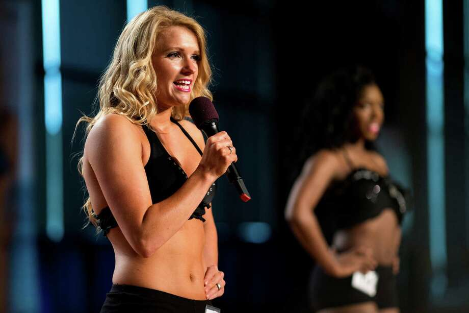 Contestants introduce themselves to the live stream of the final audition for the 2014 Sea Gals squad Sunday at CenturyLink Field in Seattle. Final auditions included individual and group performances, along with a kick line section. Photo: JORDAN STEAD, SEATTLEPI.COM / SEATTLEPI.COM