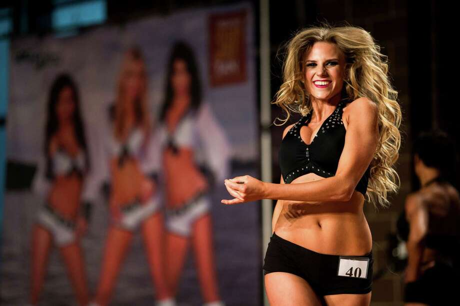 Hilary takes to the hardwood to perform during the final audition for the 2014 Sea Gals squad Sunday at CenturyLink Field in Seattle. Final auditions included individual and group performances, along with a kick line section. Photo: JORDAN STEAD, SEATTLEPI.COM / SEATTLEPI.COM