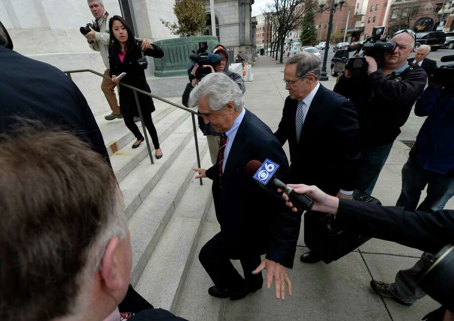 Former Senate Majority Leader Joe Bruno returns to Federal Court Monday morning, May 5, 2014, for  jury selection in his new trial in Albany, N.Y.  Bruno entered the courthouse saying only that he was tired. (Skip Dickstein / Times Union) Photo: SKIP DICKSTEIN / 00026756A