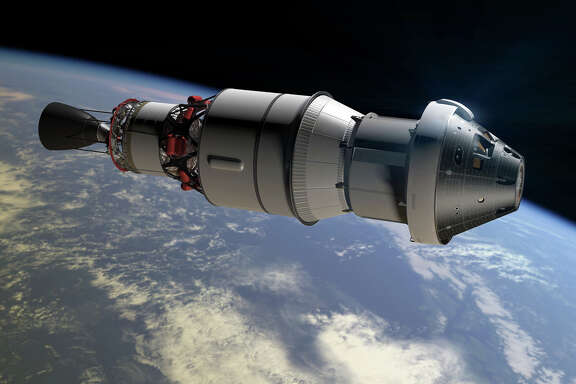This artist's rendering shows the Orion capsule and ESA service module on which the U.S. space agency aims to send a crew to orbit the red planet.