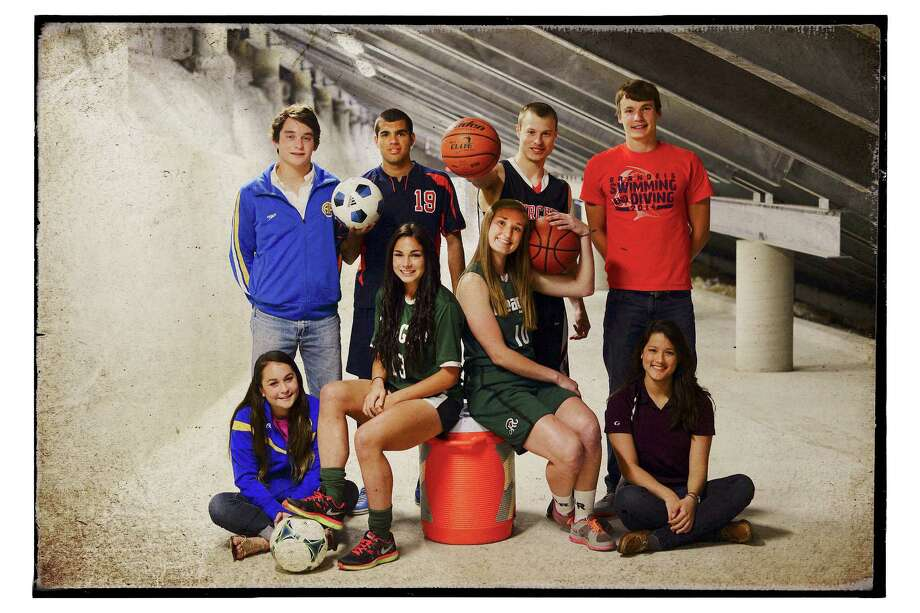 Top row from left, Finn Scribbick, Patricio Botello, Ben Mammel, Aaron Brysch; bottom row from left, Sine Scribbick, Sophia Acevedo, Wendy Knight and Marian Yurchishin are outstanding high school athletes. April 16, 2014. Photo: Billy Calzada, San Antonio Express-News / San Antonio Express-News
