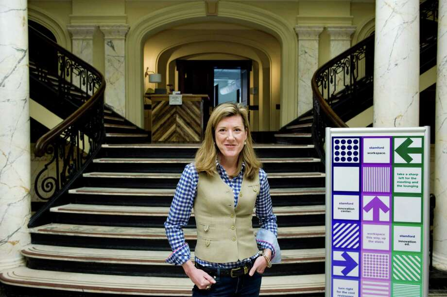 Kate Berg is a tech entrepreneur who has launched a networking series at Stamford's innovation Center in Old Town Hall. She has an upcoming event this month featuring Andrew Bergmann of CNNMoney. She's photographed at Old Town Hall in Stamford, Conn. on Monday May 5, 2014. Photo: Dru Nadler / Stamford Advocate Freelance