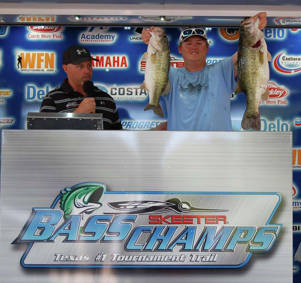 Father & Son Bob & Travis Signorin topped the field of contenders, winning 1st place overall with 16.29 lbs as well as Big Bass Honors with their 9.35 lb kicker. photo by Patty Lenderman
