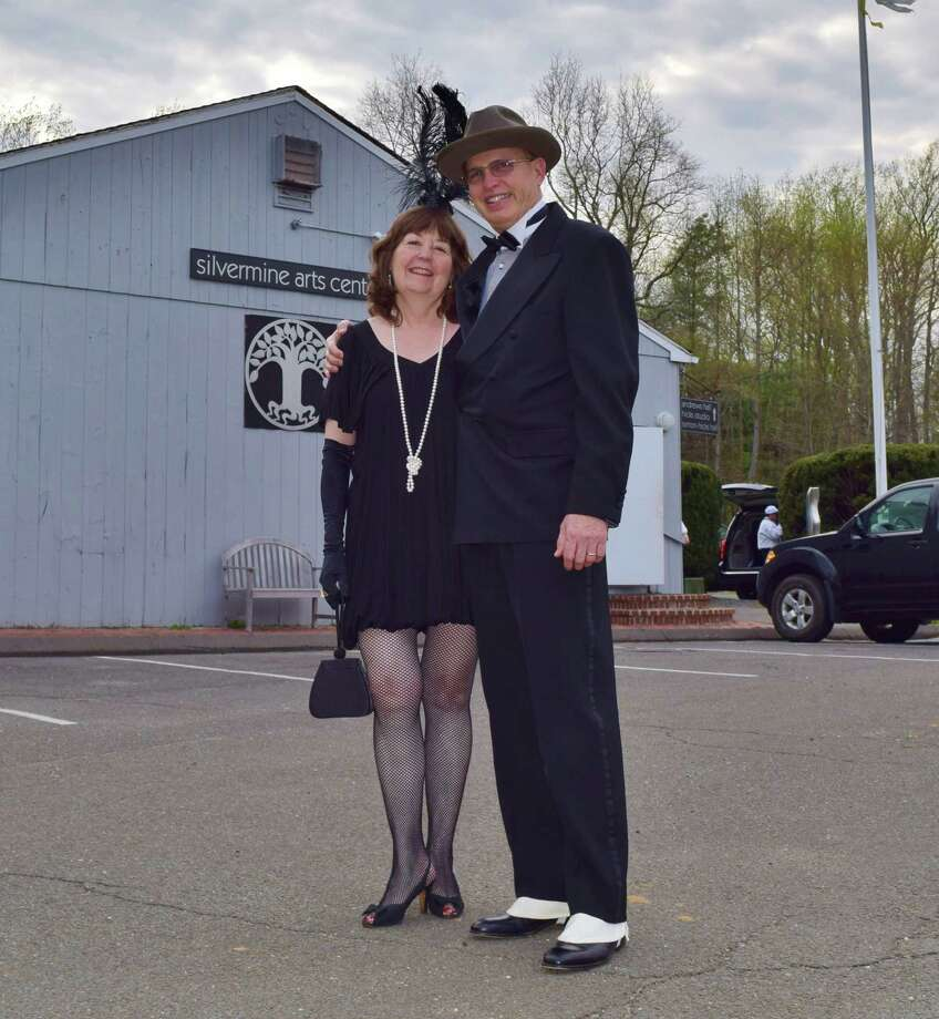 "David Dunlop and his wife Rebecca Hoefer, of Wilton, at the Silvermine Arts Center 90th anniversary ""roaring 20s""-themed gala on Saturday May 3. (Todd Tracy/Connecticut Post) Photo: Todd Tracy/Connecticut Post, Contributed Photo / Connecticut Post"