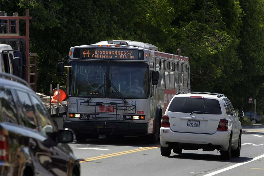 The 44 bus route includes stops on a woodsy stretch of Seventh Avenue in the Sunset District. Passengers can hop off at Lawton and Seventh and tour the local community garden or disembark down the road at Forest Hill. Photo: Paul Chinn, The Chronicle