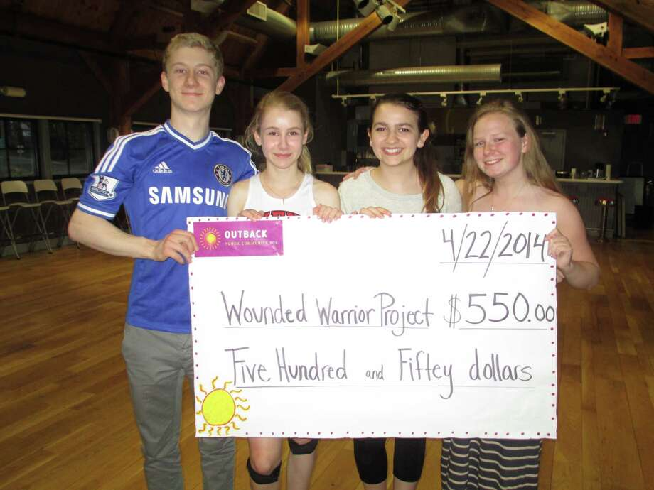 "The Outback Teen Center recently hosted an America-themed fundraiser dance for the New Canaan High School upperclassmen students. Money raised at the event will be donated to the Wounded Warriors Project. The event was planned by the Outback Teen Center Student Governing Board, which consists of the high school students, from left, Henry Greer, Lauren Perone, Mary Jane Ripley, Anne Greer and Giuliana Ponterotto.  Greer, the Student Governing Board president, said the dance ""was a successful event with over 150 teenagers having fun for a great cause, yet in a safe environment as well."" Photo: Contributed Photo, Contributed / New Canaan News Contributed"