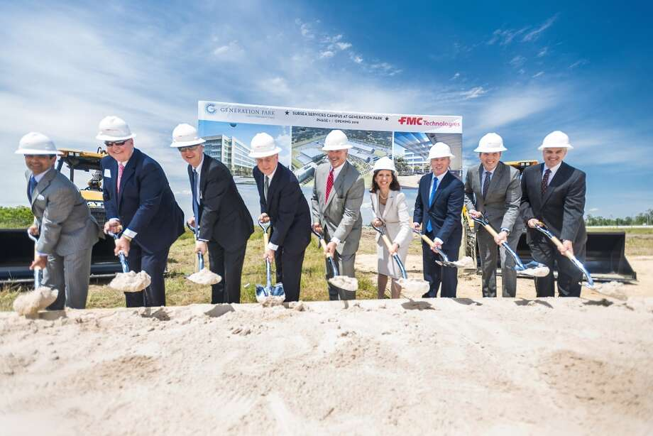 Executives from FMC Technologies broke ground on a new headquarters campus in northeast Houston Friday, May 2. Photo: FMC Technologies