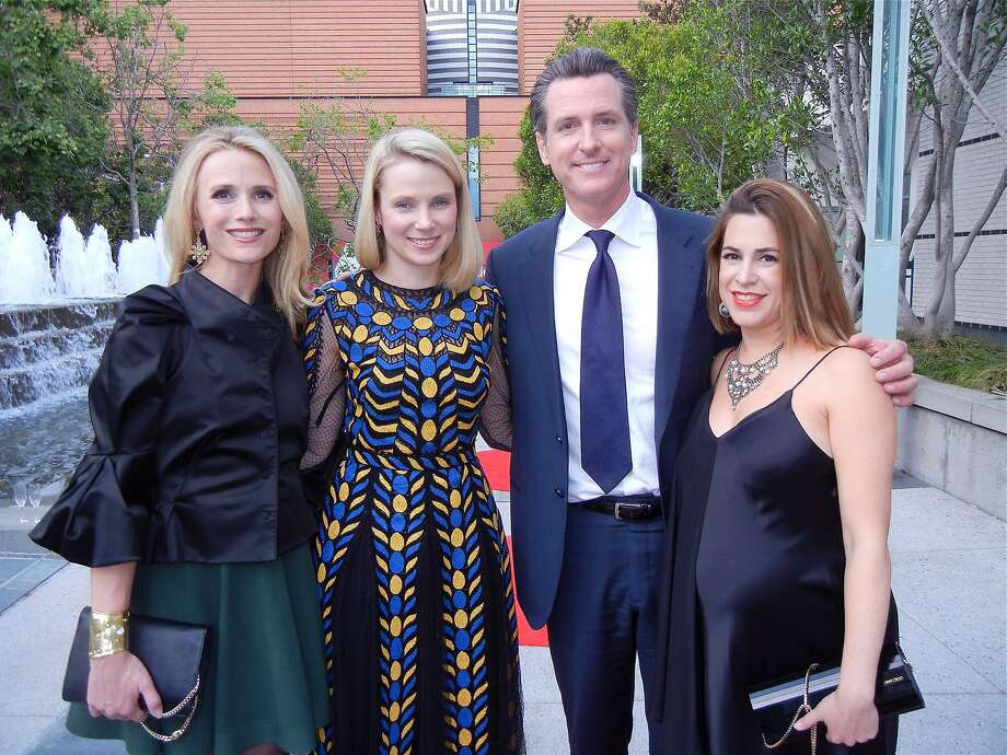 Jennifer Siebel Newsom (left), Yahoo CEO and SFMOMA Trustee Marissa Mayer, Lt. Gov. Gavin Newsom, One Kings Lane co-founder Alison Pincus. Photo: Catherine Bigelow, Special To The Chronicle