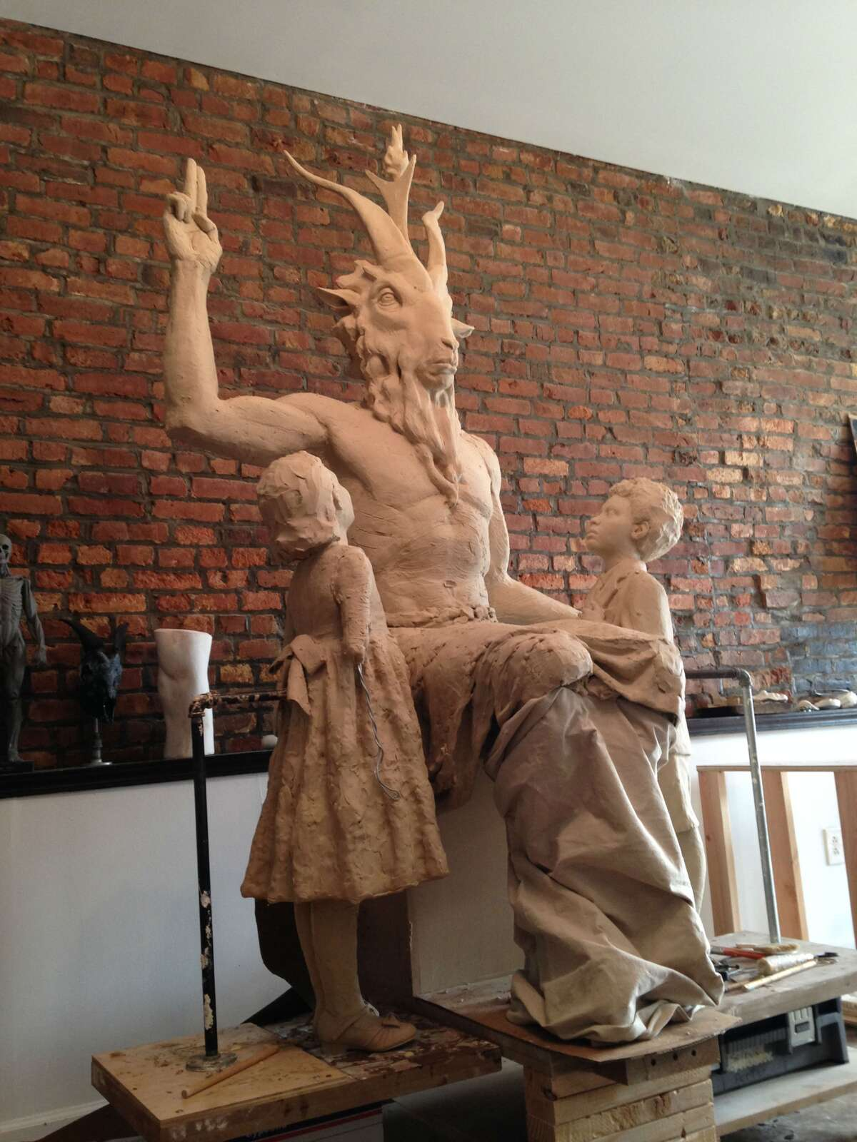 An artist at an undisclosed location in New York is making this statue for the Oklahoma State Capitol grounds. Photo: The Satanic Temple