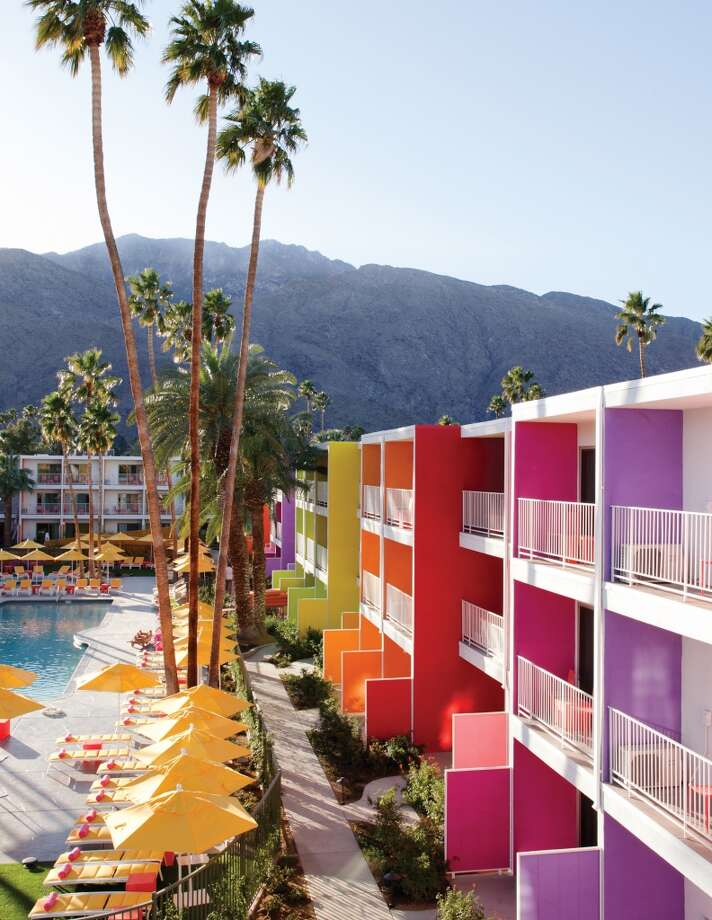 The Saguaro Palm Springs, Palm Springs Solely based on its color palette, The Saguaro Palm Springs is about as unique as it gets. Lounge by the pool and take in the vibrant paint job and eclectic vibe.  Photo: Courtesy Tim Street Porter