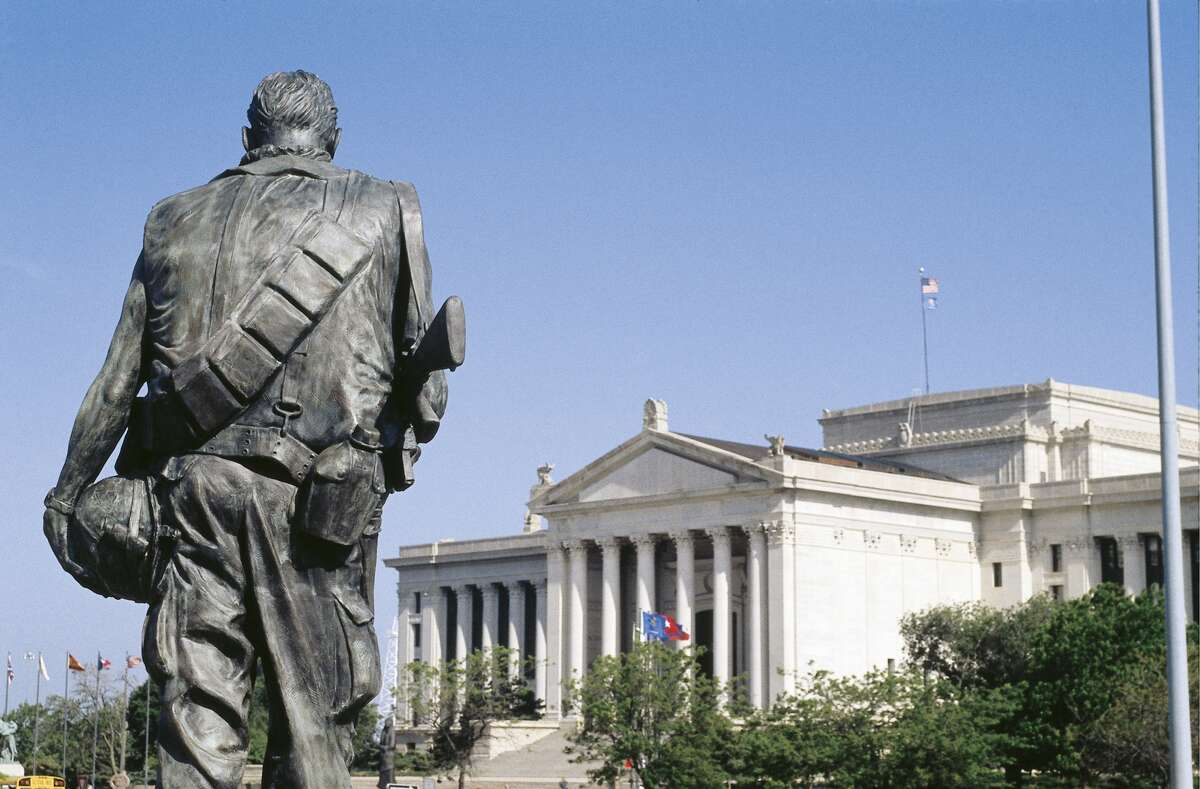 The War Memorial Monument with Oklahoma State Capitol in the background, in Oklahoma City, Oklahoma. (Photo by Independent Picture Service/UIG via Getty Images)