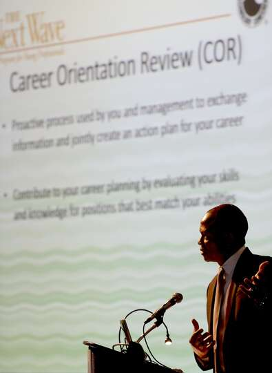 Sylvester Ukpolo talks about career orientation on May 5, 2014 in the NRG Center in Houston, TX. (Ph
