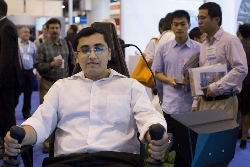 Priyank Mehta tests a Aker Solutions operations chair created to control the drill equipment from th