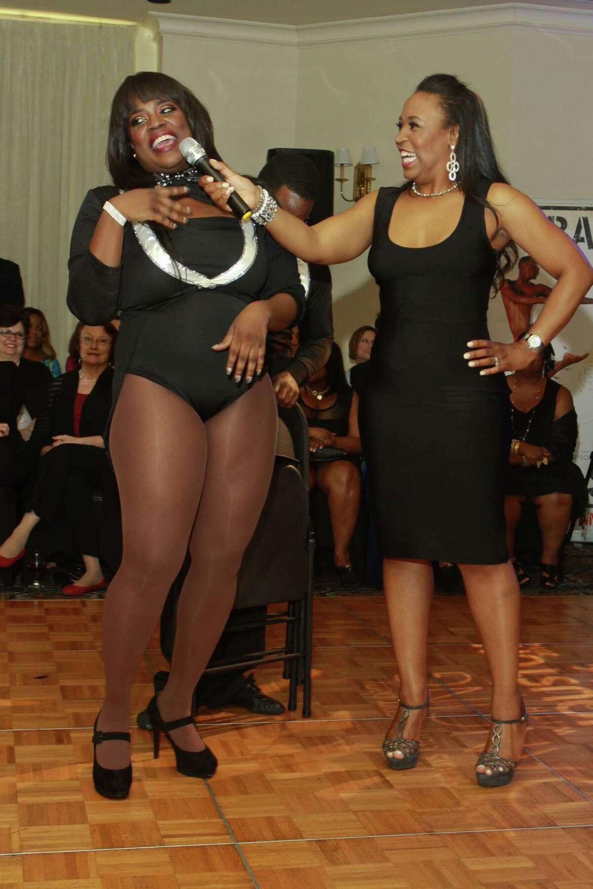 """(For the Chronicle/Gary Fountain, May 4, 2014) Nakia Cooper being interviewed by Erica D. Rouse after performing at the Urban Souls Dance Company's 4th annual charity gala and fundraiser """"Dancing with the Houston Stars."""""""