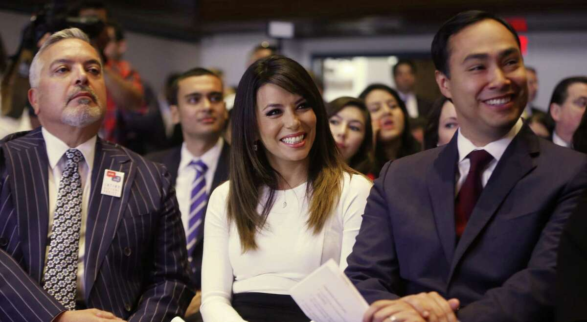 Henry R. Munoz III (from left), Eva Longoria and Rep. Joaquin Castro, D-Texas, help launch the Latino Victory Project.