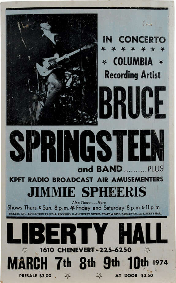 Bruce Springsteen has been bringing his brand of wrought-iron Jersey rock to Houston for 40 years, beginning with a four-day invasion of the Liberty Hall in March 1974. He was playing two sets a night three of those nights to accommodate the crowds, something you don't see anymore in rock and roll. Photo: Courtesy: Brucebase