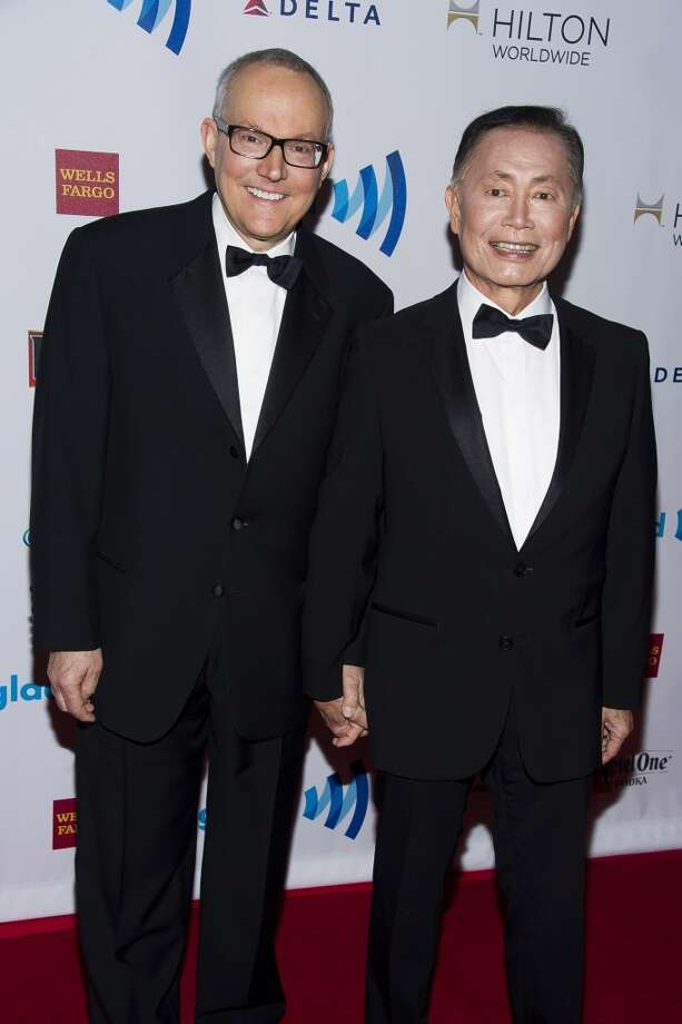 George Takei, right, and his husband Brad Altman attend the GLAAD Media Awards on Saturday, May 3, 2014 in New York. Photo: Charles Sykes, Associated Press