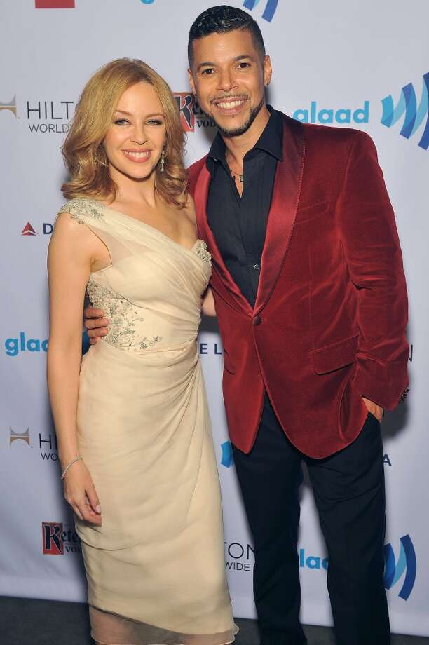 Kylie Minogue and Wilson Cruz attend the 25th Annual GLAAD Media Awards on May 3, 2014 in New York City. Photo: D Dipasupil, Getty Images For GLAAD