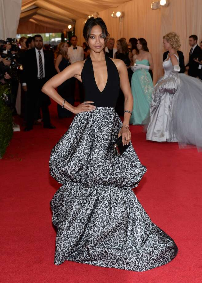 "Zoe Saldana attends The Metropolitan Museum of Art's Costume Institute benefit gala celebrating ""Charles James: Beyond Fashion"" on Monday, May 5, 2014, in New York. (Photo by Evan Agostini/Invision/AP) Photo: Evan Agostini, Associated Press"