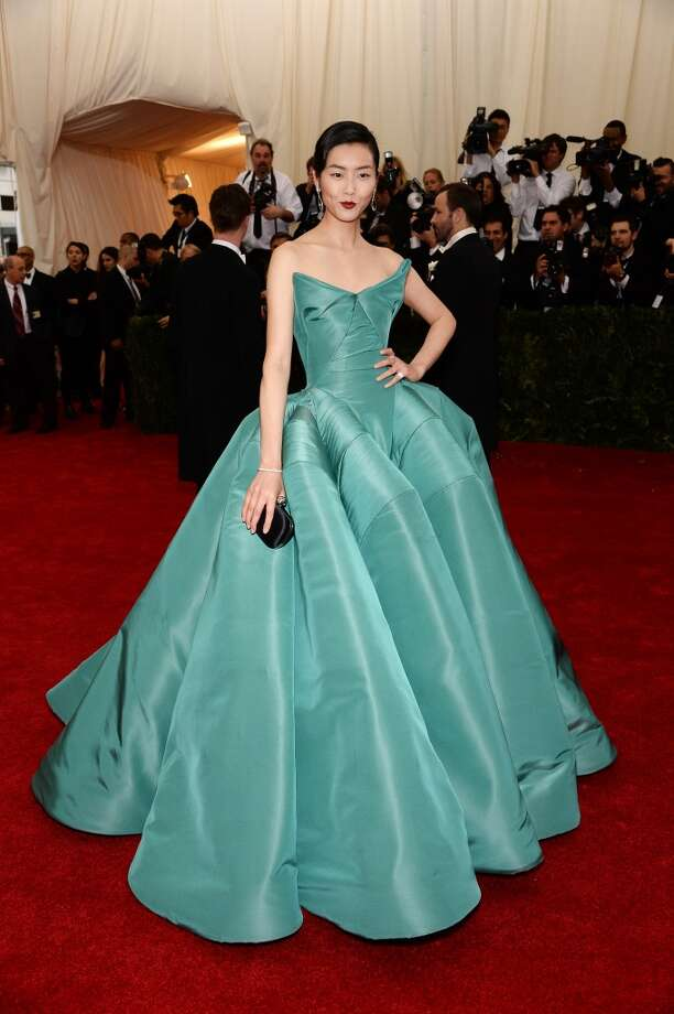 "Model Liu Wen attends the ""Charles James: Beyond Fashion"" Costume Institute Gala at the Metropolitan Museum of Art on May 5, 2014 in New York City. Photo: Dimitrios Kambouris, Getty Images"