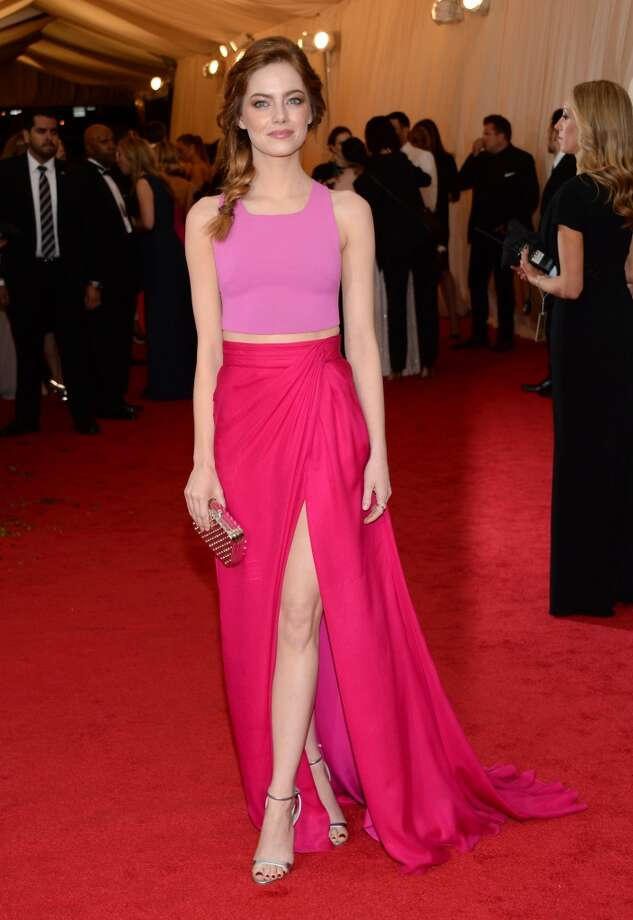 "Emma Stone attends The Metropolitan Museum of Art's Costume Institute benefit gala celebrating ""Charles James: Beyond Fashion"" on Monday, May 5, 2014, in New York. Photo: Evan Agostini, Associated Press"
