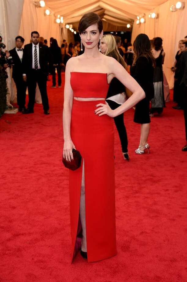 """Actress Anne Hathaway attends the """"Charles James: Beyond Fashion"""" Costume Institute Gala at the Metropolitan Museum of Art on May 5, 2014 in New York City. Photo: Larry Busacca, Getty Images"""