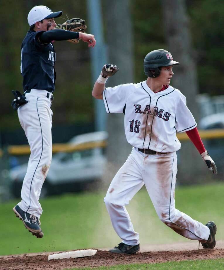 Staples high school against New Canaan high school during a baseball game played at Mead Park, New Canaan, CT on Monday, May, 5th, 2014. Photo: Mark Conrad / Connecticut Post Freelance