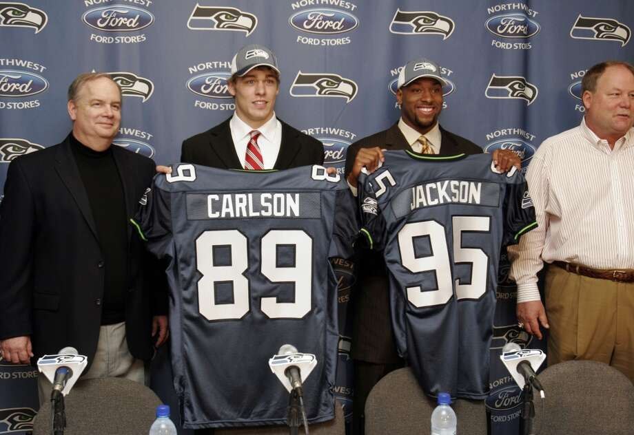 WORST  10. Lawrence Jackson (2008)First round, 28th-overall pick | Position: Defensive end | College: USC Jackson was supposed to be a force after a stellar career for the Trojans, but after 6.5 sacks in two seasons with Seattle, Schneider and Carroll -- his college coach --  traded him to the Lions for a sixth-round pick prior to the 2010 season. He was out of the league just three seasons later. Photo: Meryl Schenker, Seattle P-I Archives