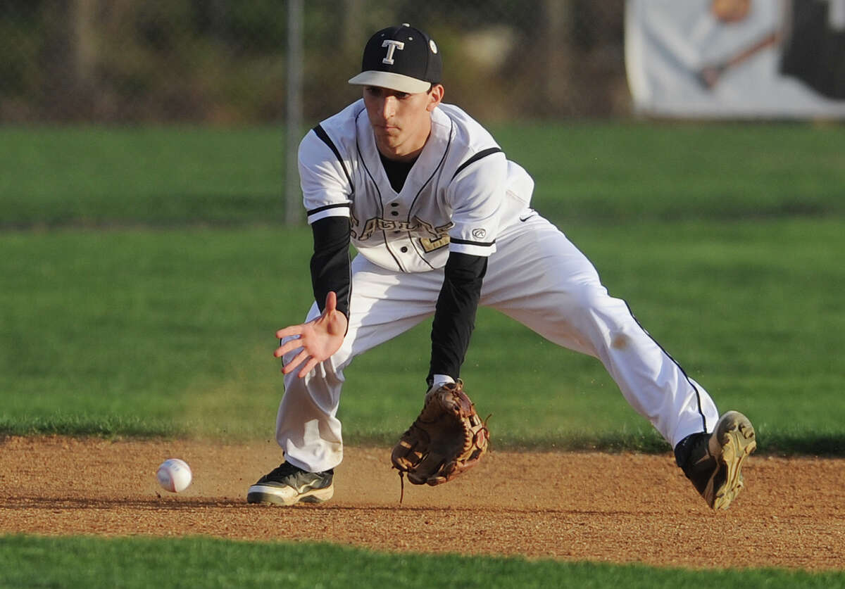 Trumbull's Frank LaPegna. St. Joseph v. Trumbull FCIAC baseball at Trumbull High School in Trumbull, Conn. on Monday, May 5, 2014.