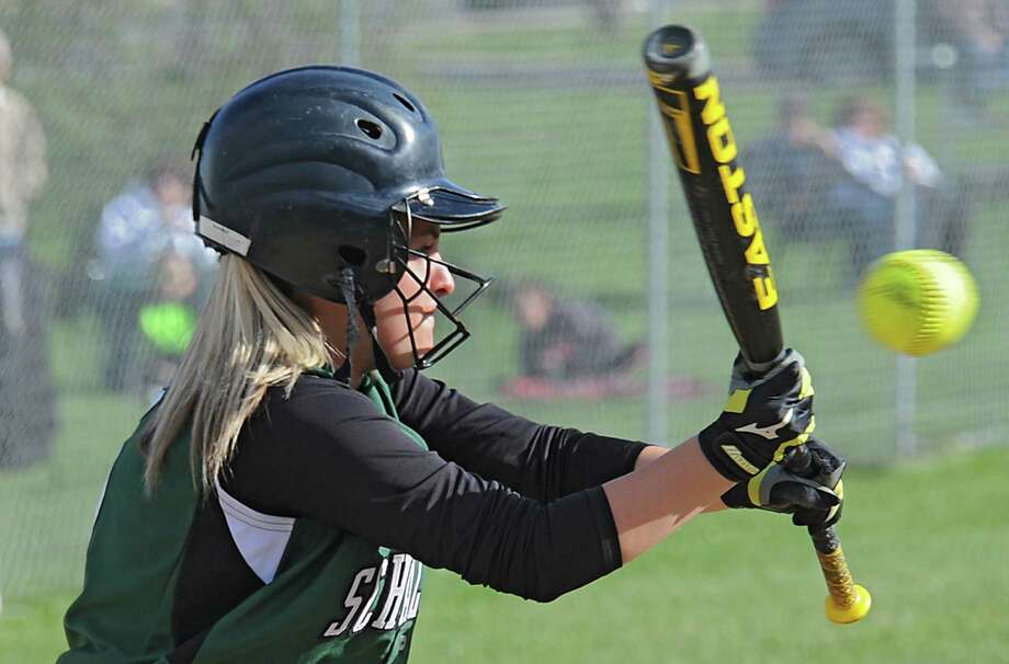 Schalmont's Rachel Peek tries to bunt the ball during a softball game against Cohoes on Monday, May 5, 2014 in Cohoes, N.Y. (Lori Van Buren / Times Union) Photo: Lori Van Buren / 00026754A