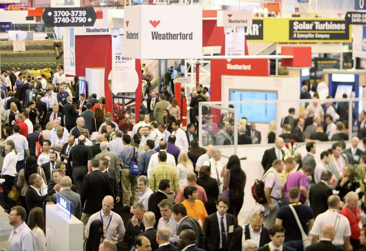 """Heavy traffic on the sprawling exhibition floor of the 2014 Offshore Technology Conference at NRG Park was heavily trafficked by people seeking sessions such as """"Thick Clad Pipe with Upset Ends for Browes Project."""""""