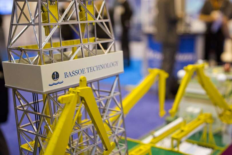 Bassoe Technology BT-UDS Ultra Deepwater Drillship model exhibited at the 2014 Offshore Technology C