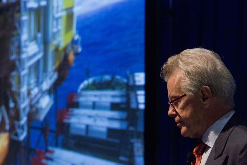 Edward Heerema speaks during the New Deepwater Construction Equipment  technical session during the