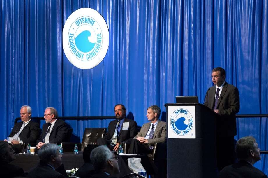 Shuki Ronen, Chief Geophysicist, Seabed Geosolutions speaks at the Emerging Offshore Geosciences Technologies technical session at the Offshore Technology Conference, Monday, May 5, 2014, in Houston. ( Marie D. De Jesus / Houston Chronicle ) Photo: Marie D. De Jesus, Houston Chronicle