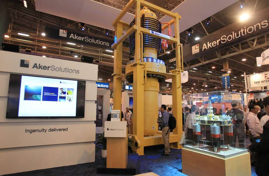 The Aker Solutions booth in the Offshore Technology Conference at NRG Park on May 5, 2014, in Houston, Tx. ( Mayra Beltran / Houston Chronicle ) Photo: Mayra Beltran, Houston Chronicle