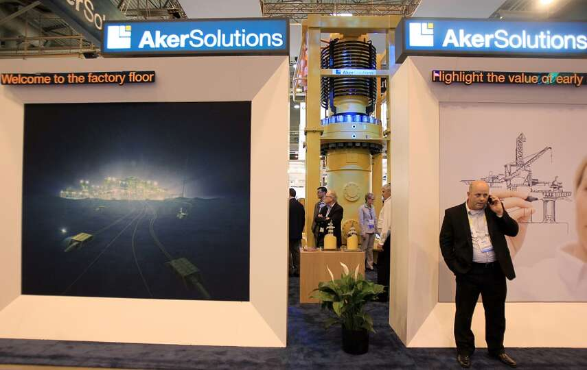The Aker Solutions booth in the Offshore Technology Conference at NRG Park on May 5, 2014, in Housto