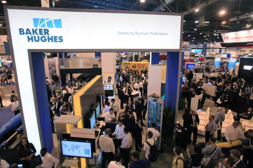 The Baker Hughes booth in the Offshore Technology Conference at NRG Park on May 5, 2014, in Houston,
