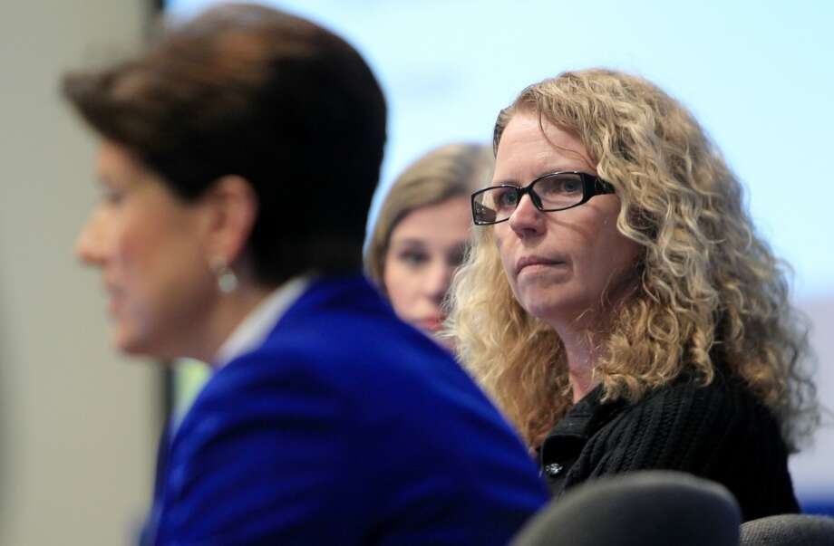Donna Birbiglia, from Shell, listens to Lynne Hackerdorn, VP Government and Public Affairs in Cobalt, who  participate in the Women in the Industry Sharing Experiences Panel during the 2014 Offshore Technology Conference at NRG Park on May 5, 2014, in Houston, Tx. ( Mayra Beltran / Houston Chronicle ) Photo: Houston Chronicle