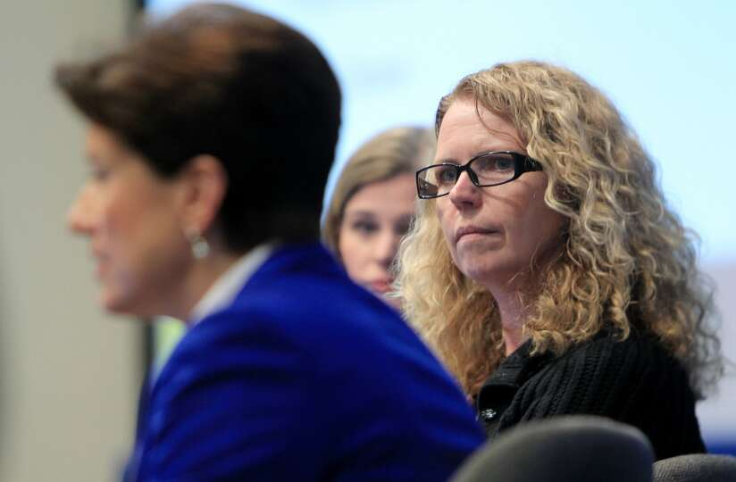 Donna Birbiglia, from Shell, listens to Lynne Hackerdorn, VP Government and Public Affairs in Cobalt