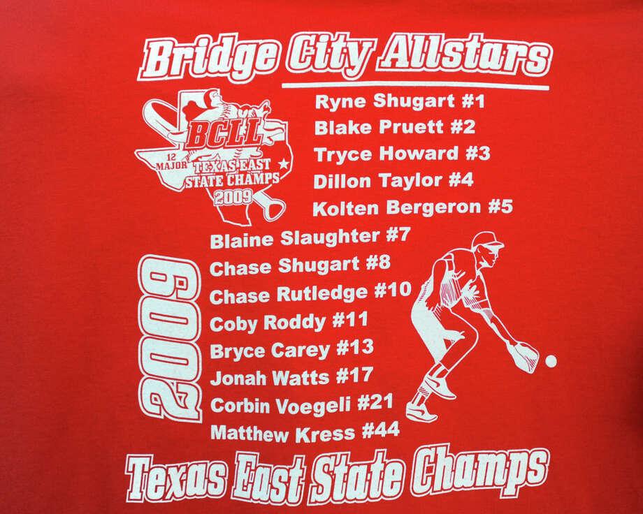 August 2009:The Bridge City 12-year-old All-Stars team shirt. Photo: Valentino Mauricio / Beaumont