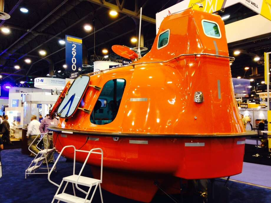 """""""It's not sexy and it's not pleasant, but it'll save your life,"""" Mark Beatty of Survival Systems International says about a highly noticeable seagoing product his company offers. Photo: Ryan Holeywell"""