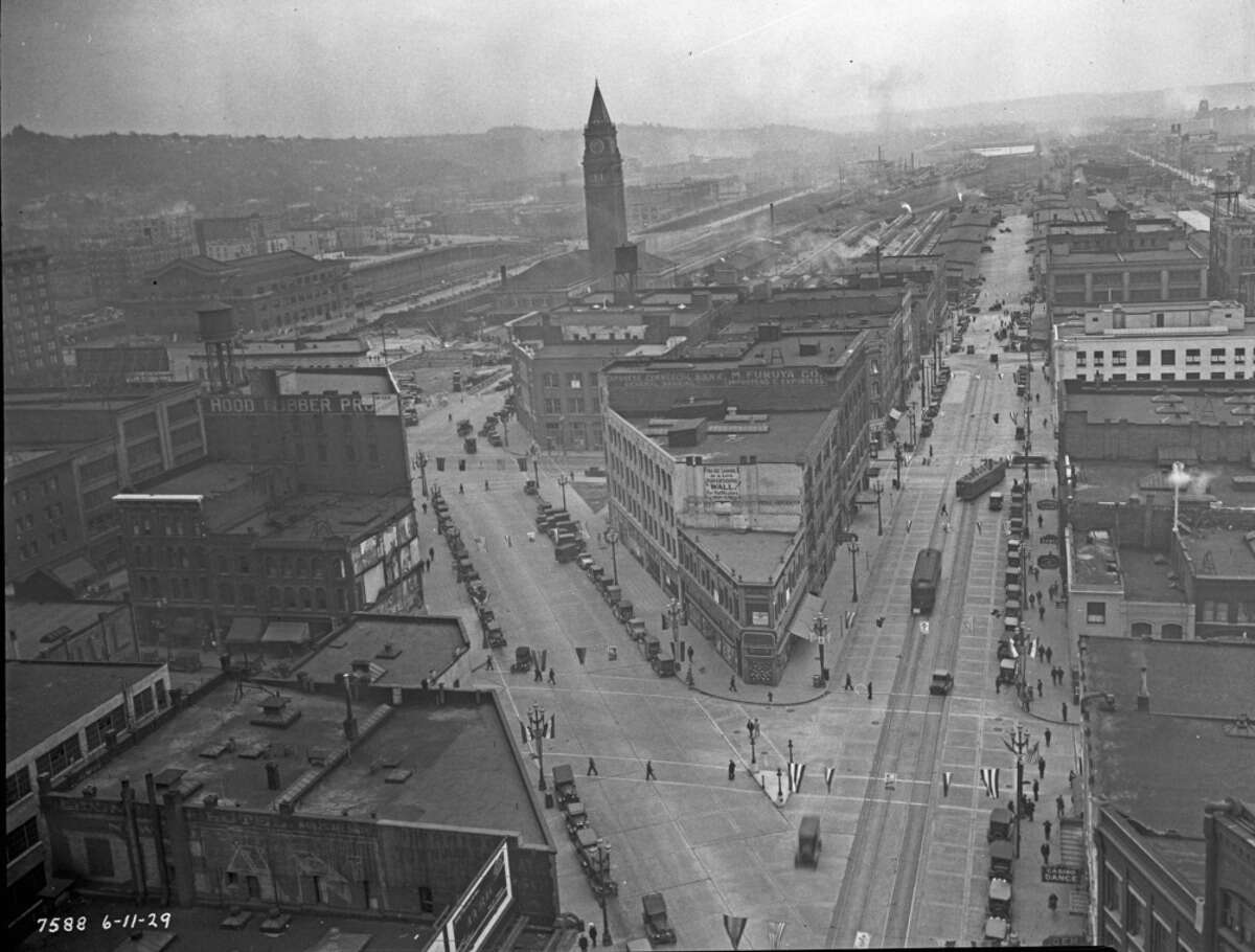 Keep clicking for a look at some of Seattle's earliest additions to the National Register of Historic Places. Union Station - Fourth Avenue South and South Jackson Street - Union Station and vicinity, pictured from Smith Tower in a Seattle Municipal Archives photo.