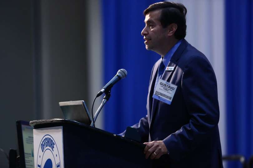 Gustavo Hernandez-Garcia of Mexico's PEMEX speaks at OTC, Tuesday, May 6, 2014. (Marie D. De Jesus /