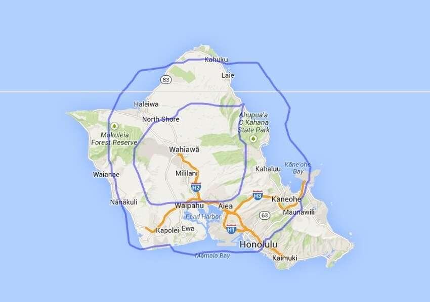 San Antonio (Loops 1604 and 410) compared to Oahu, Hawaii.