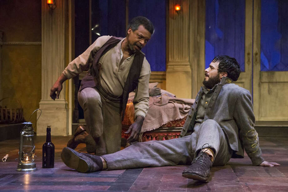 "Shawn Hamilton, left, stars as Simon and Ross Bautsch as Caleb in Stages Repertory Theatre's ""The Whipping Man."""