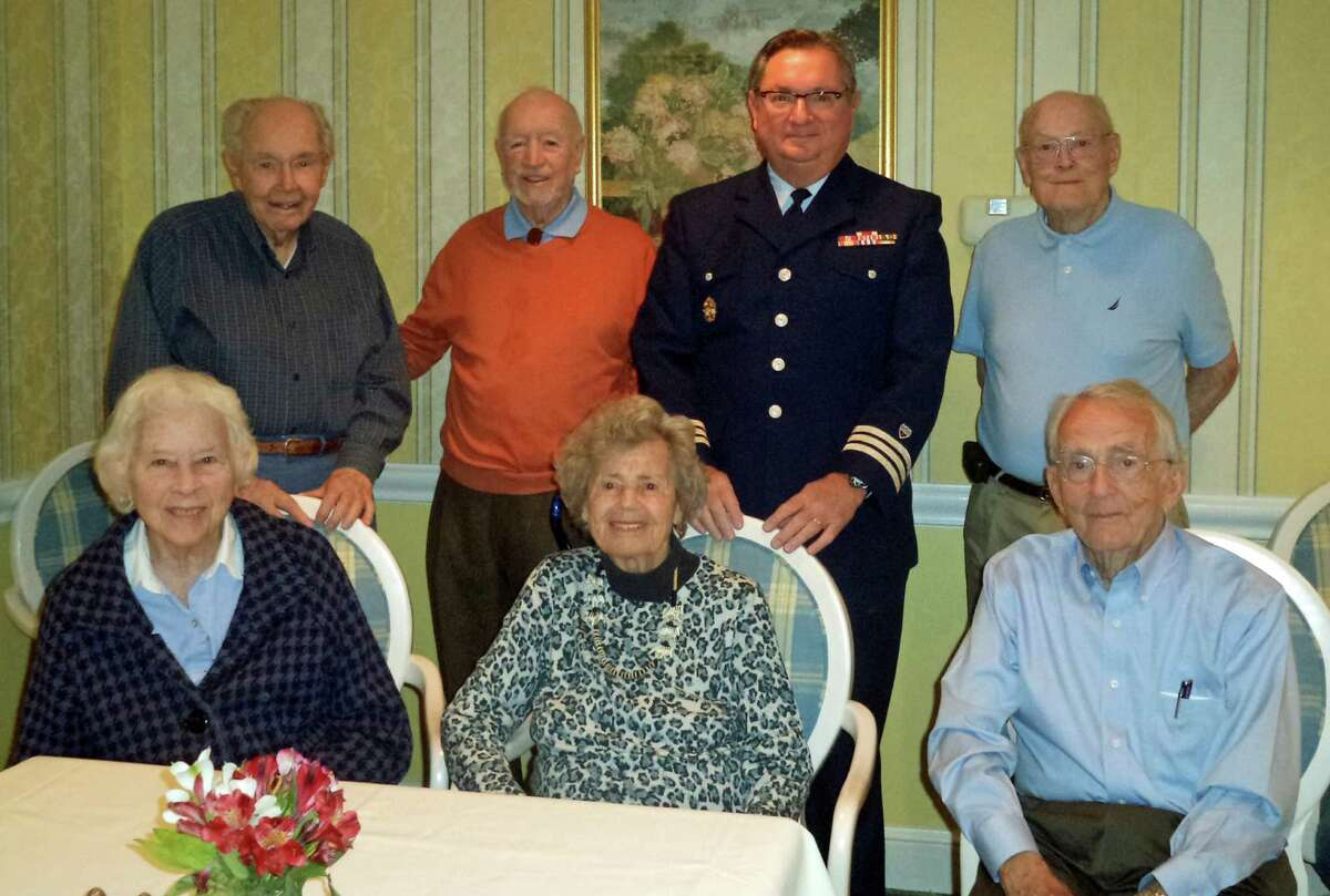 The Atria Darien Veterans Group recently hosted Darien resident Louis J. DiGiusto for a conversation on his experiences as the district staff officer of the U.S. Coast Guard Auxiliary on the commodore's staff. The group has breakfast meetings on the second Thursday of each month featuring representatives of the armed forces. Standing from left, Ed Clarke, George Walsh, Louis J. DiGiusto and John Geoghegan. Seated from left, Sis Henderson, Joan Tweedy and John Boland.