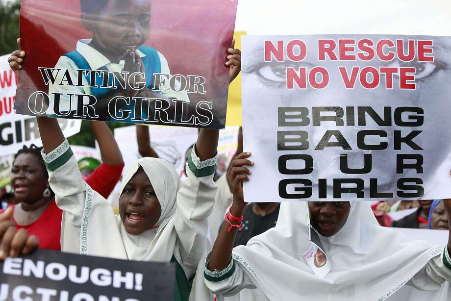 Protesters in Lagos call on the government to rescue girls kidnapped from their school by militants. Photo: Sunday Alamba, Associated Press